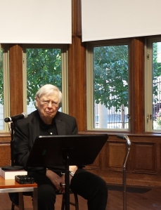 William H. Gass preparing to read for the celebration of his 90th birthday at Washington University.