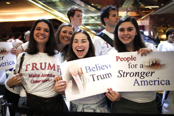 young women at trump rally